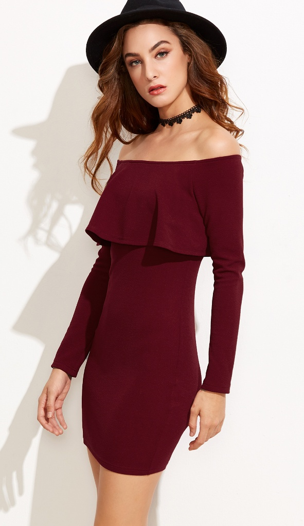 Burgundy Off The Shoulder Ruffle Dress