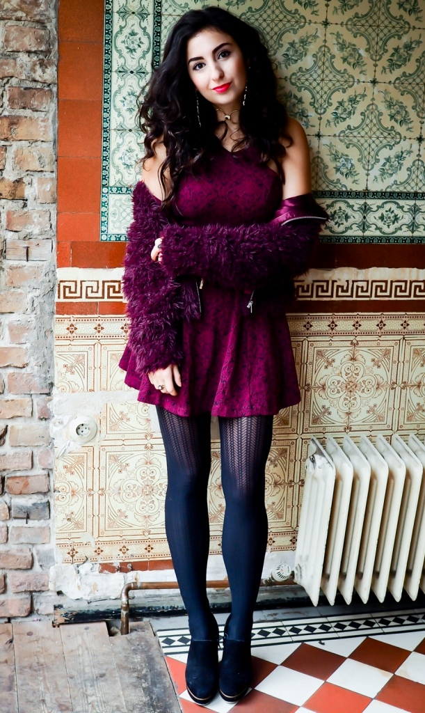 Burgundy Skater Dress & Fauxfur Jacket