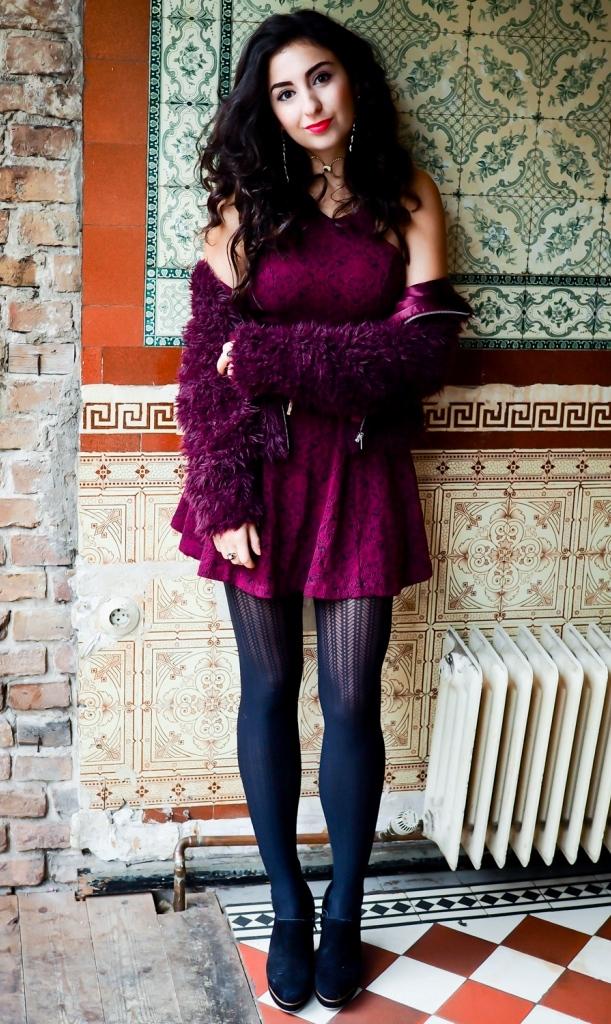 Burgundy Skater Dress & Fauxfur Jacket