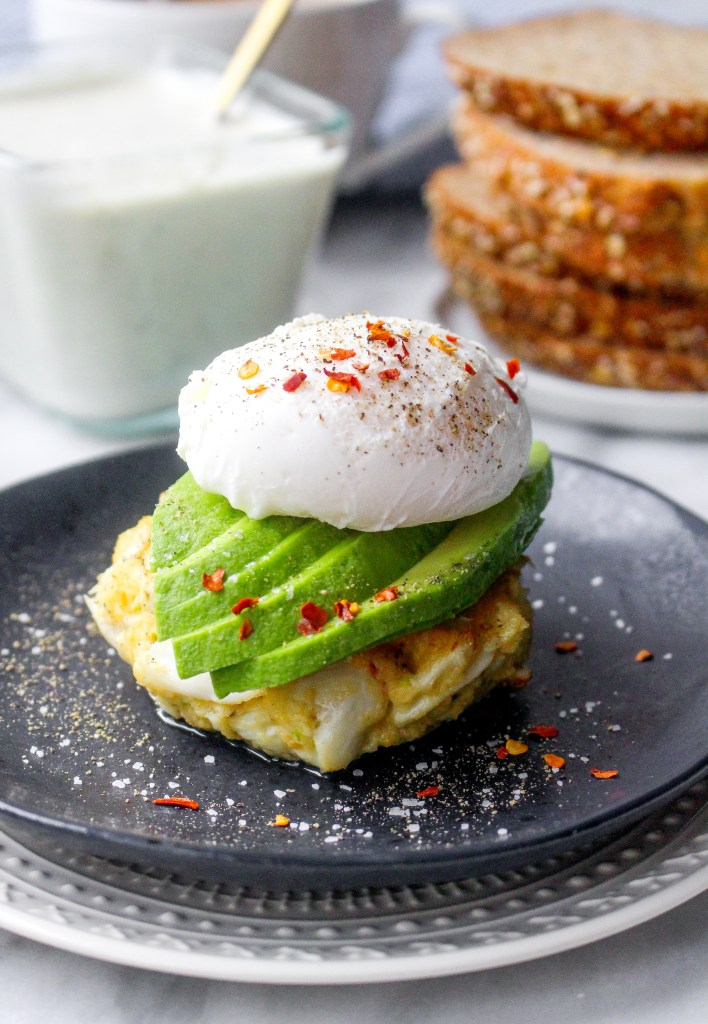 Crab Cake Stacks With Poached Eggs