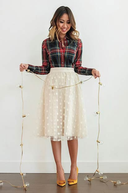 Flannel Shirt & Midi Skirt