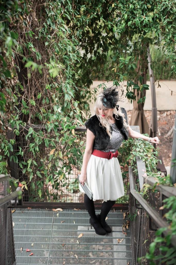 Fur Shrug Glittering Skirt