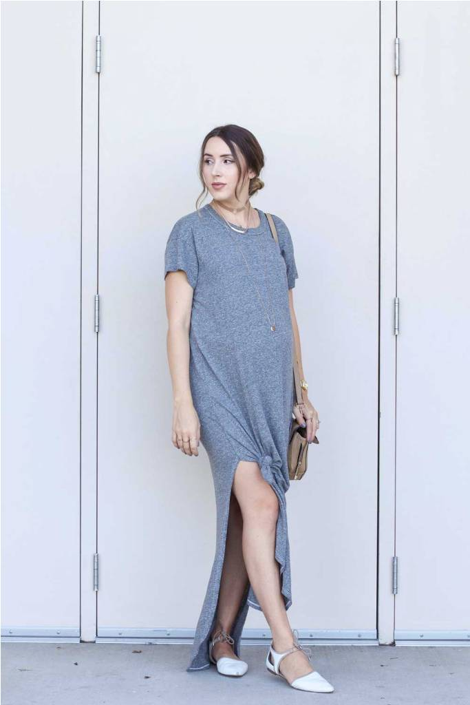 Grey Maxi Dress Maternity Outfit