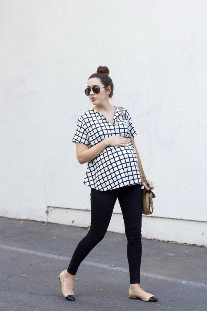 Grid Print Maternity Top