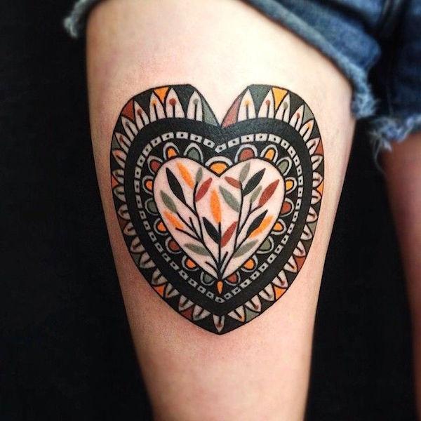 Heart Tattoo Thigh Tattoo