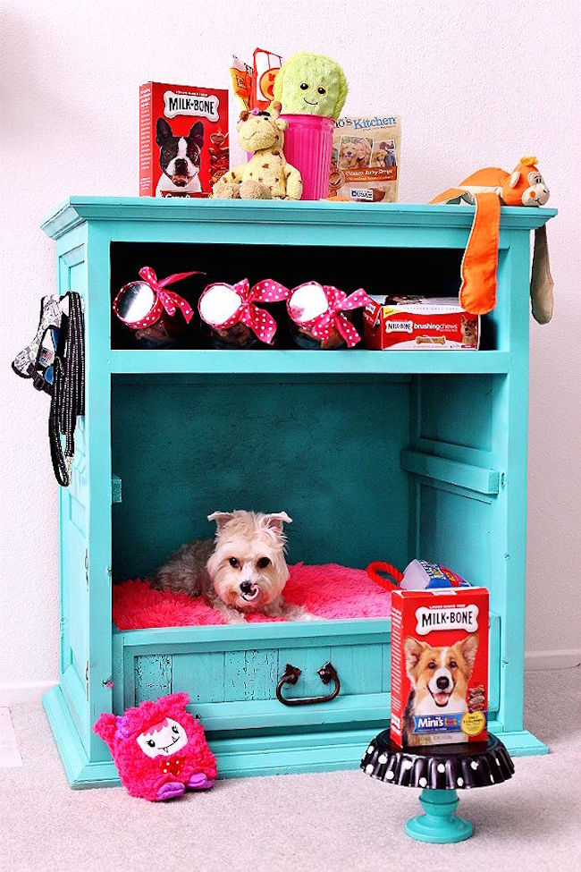 Old Cabinet Turned Into A Dog Bed With Storage Space