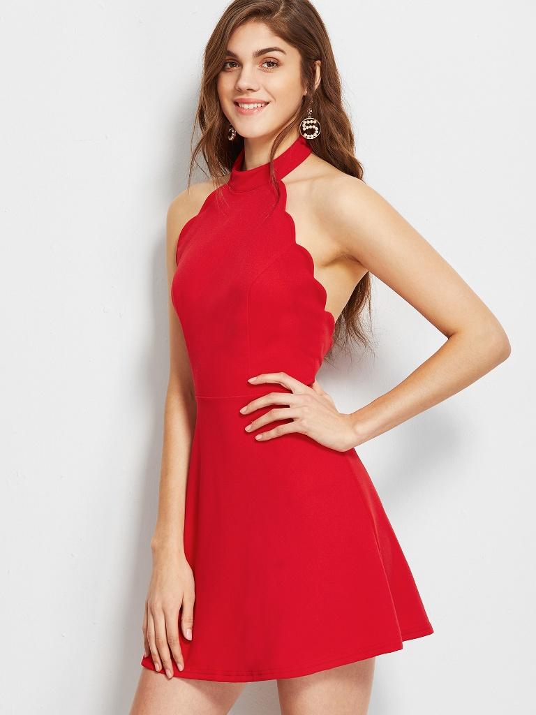 Red Halter Neck Backless Skater Dress
