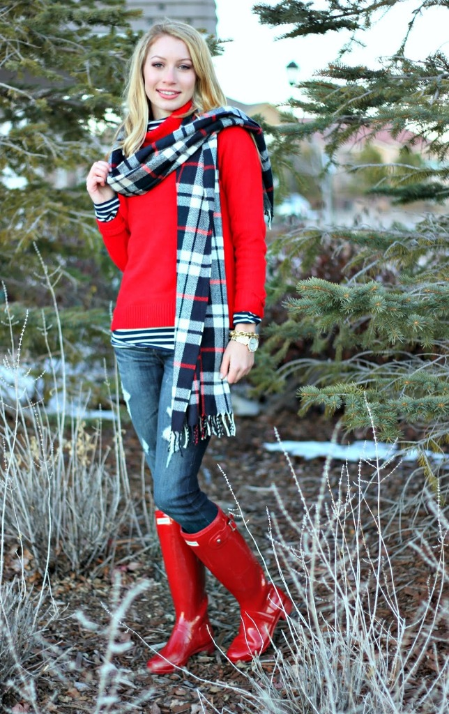 Red Turtleneck Sweater With Hunter Boot & Scarf
