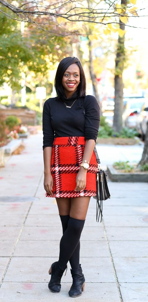 Super High-Waisted Checked Skirt