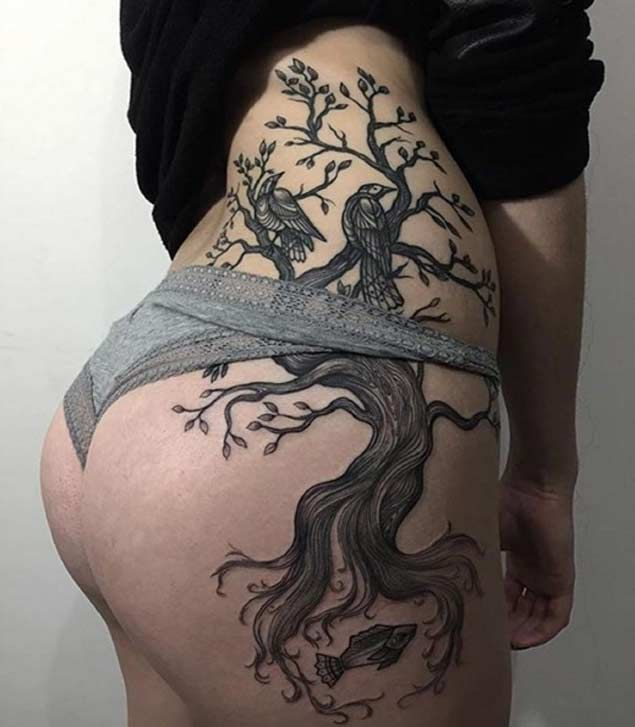 Upper Thigh Branches Tattoo