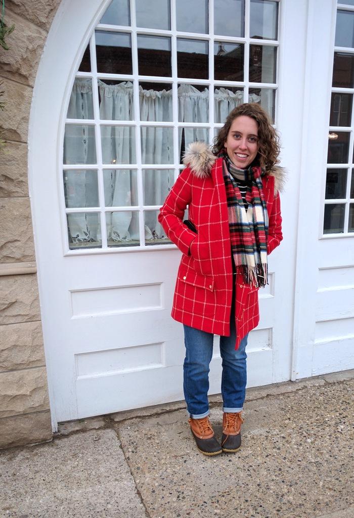 Cherry Red Window Pane Coat & Jeans