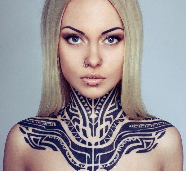 Tribal Neck Tattoo For Women