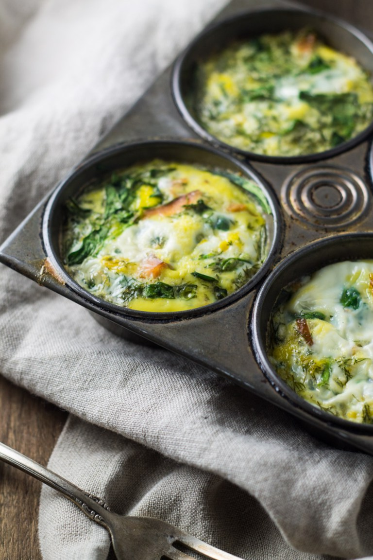 Smoked Salmon And Spinach Frittata Cups
