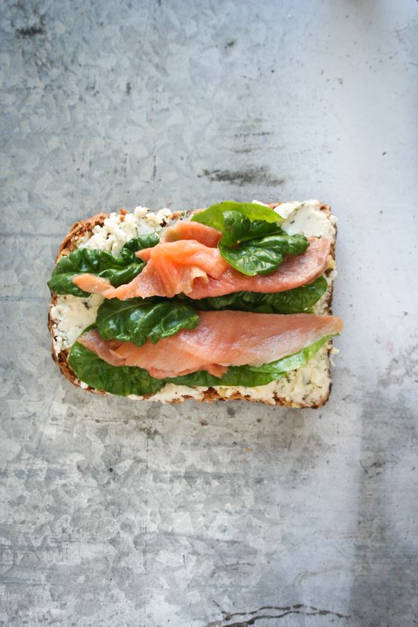 Spinach & Salmon Toast With Soft Cheese