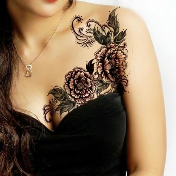 Floral Lace Chest Tattoo