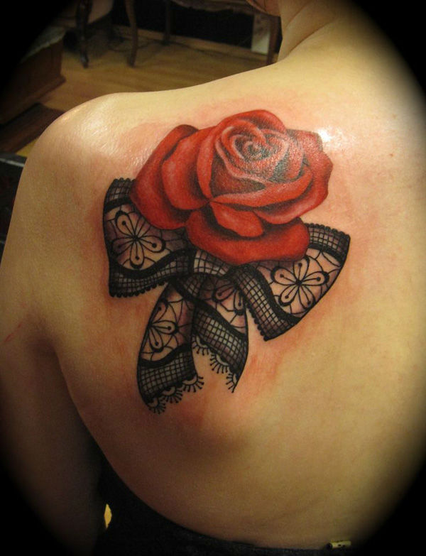 Shoulder Red Rose Tattoo
