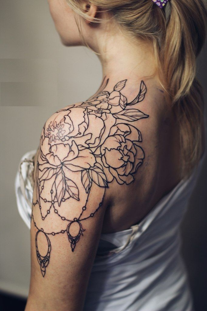 Vintage Flowers and Lace Tattoo