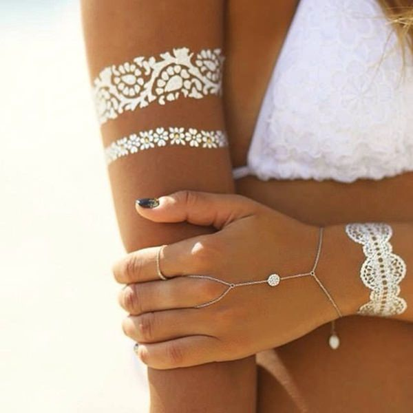 White Ink Lace Tattoo