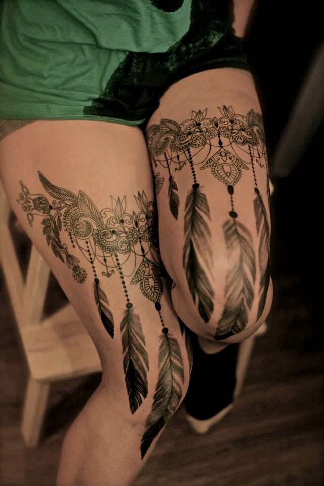 Lace Tattoo Thighs