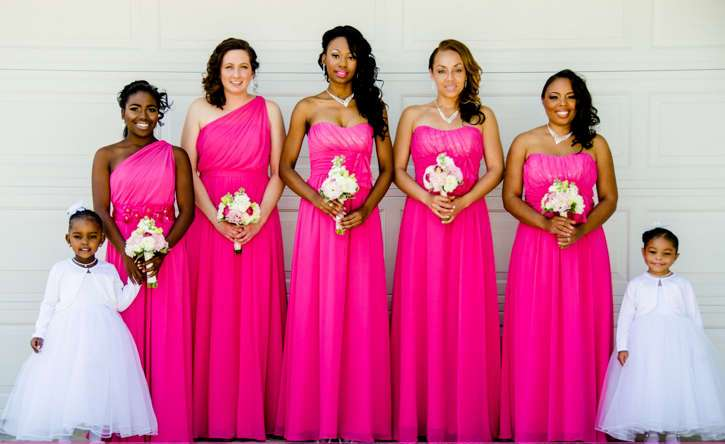 bridesmaid in pink dresses ideas