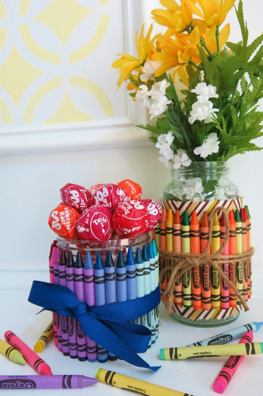 Crayon-Covered Jars