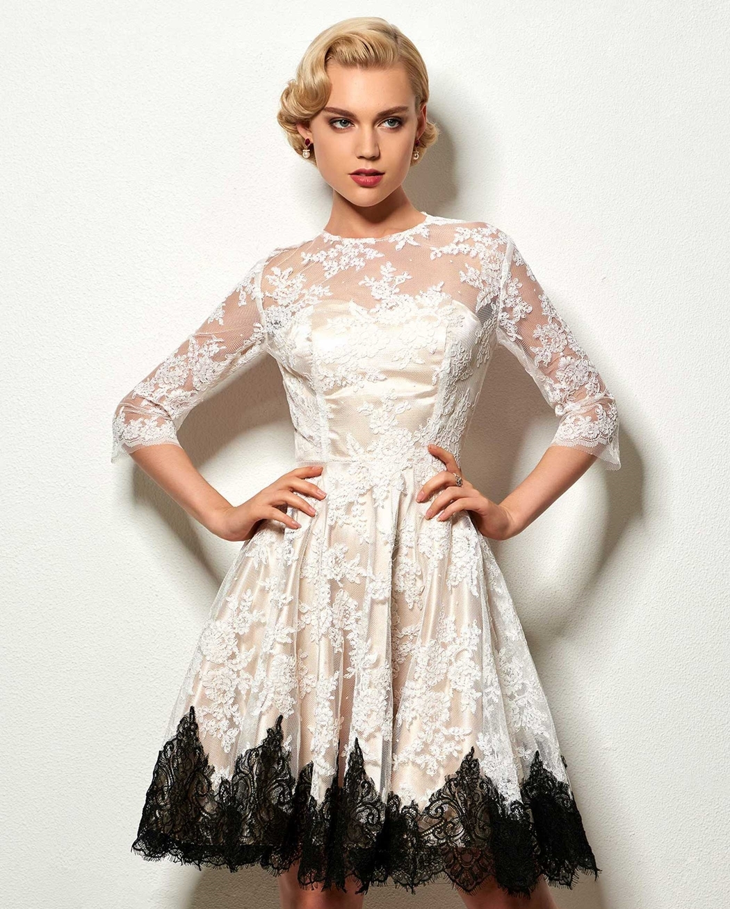 A Line Lace Short Cocktail Dress With Half Sleeve Beautifulfeed