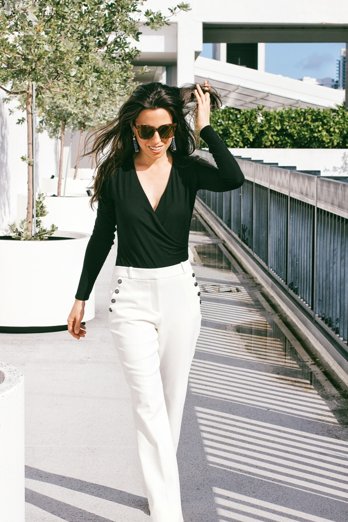 Black Bodysuit & White Pants Beautifulfeed