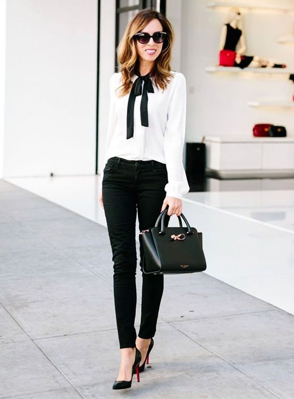 Black Jeans With White Casual Shirt & High Heels Beautifulfeed