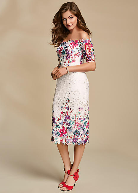 Border Print Lace Bardot Beautifulfeed