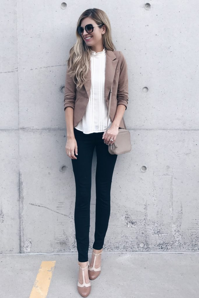 Brown Modcloth Blazer With Skinny Jeans & Heels beautifulfeed