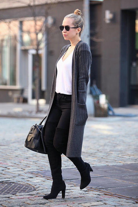 Cozy Long Cardigan With Skinny Pants beautifulfeed