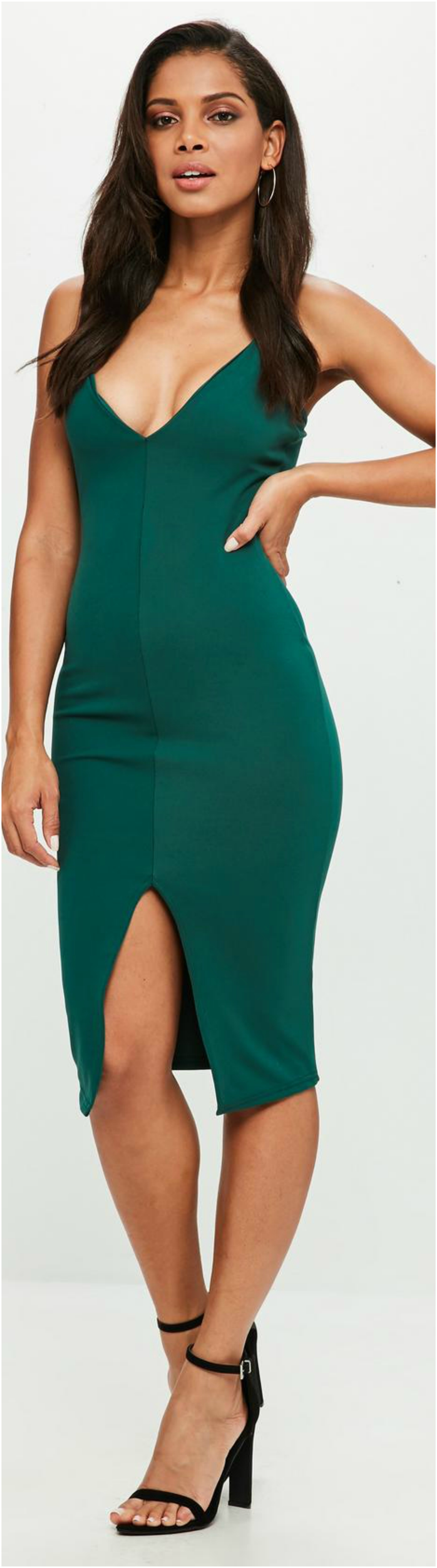 Green Lace Ladder Detail Midi Dress Beautifulfeed