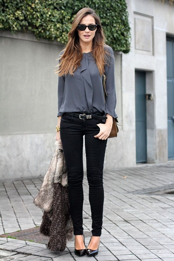 Grey Tunic With Skinny Jeans & High Heels Beautifulfeed