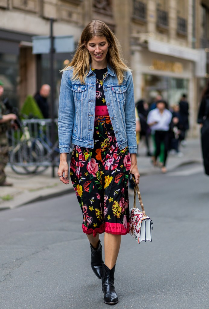 Midlength Printed Dress With A Denim Jacket Beautifulfeed