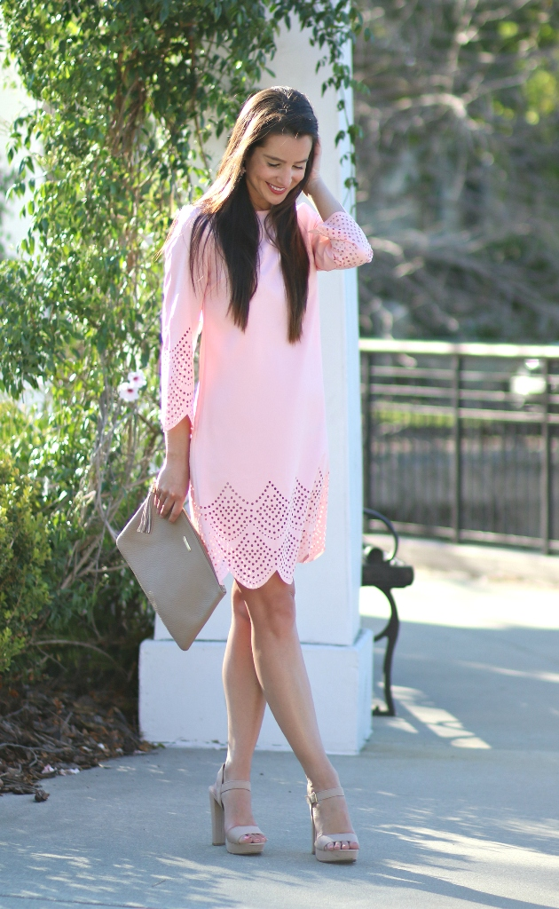 Pink Hollow Hem Three Quarter Sleeve Shift Dress Beautifulfeed