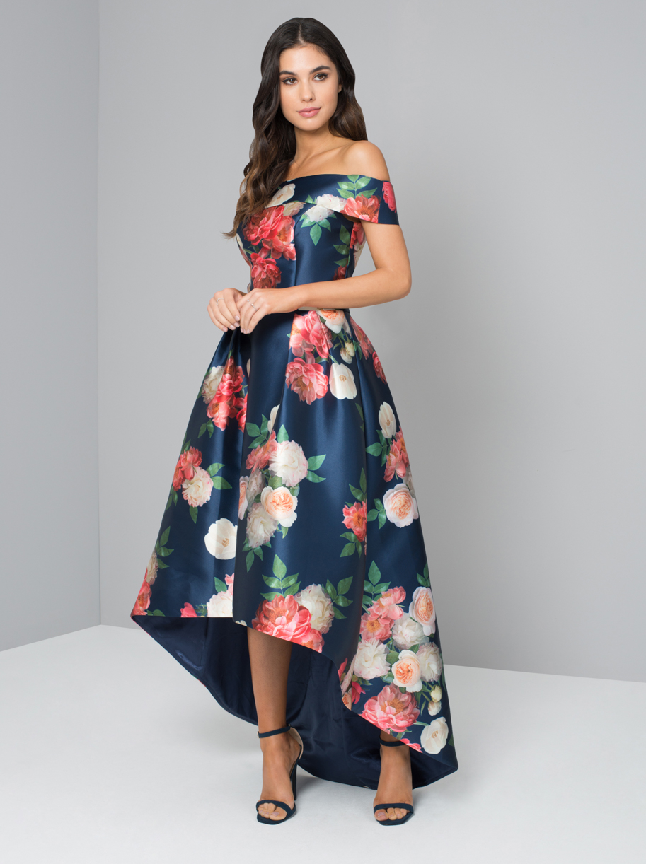 Printed Bardot Dip Hem Dress Beautifulfeed
