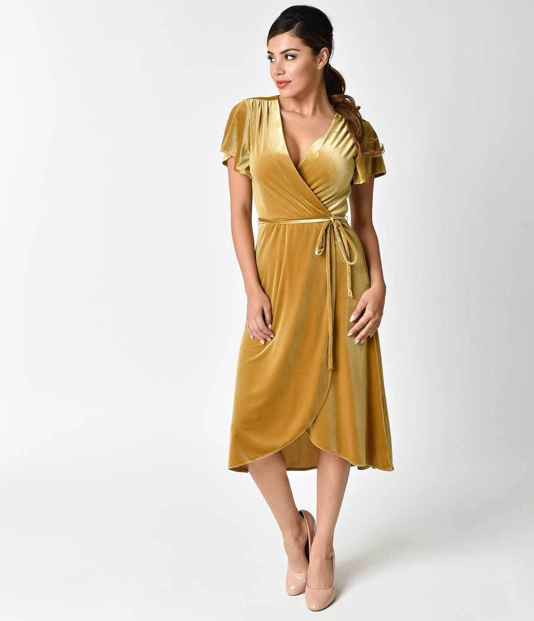 Retro Style Mustard Yellow Velvet Wrap Dress Beautifulfeed