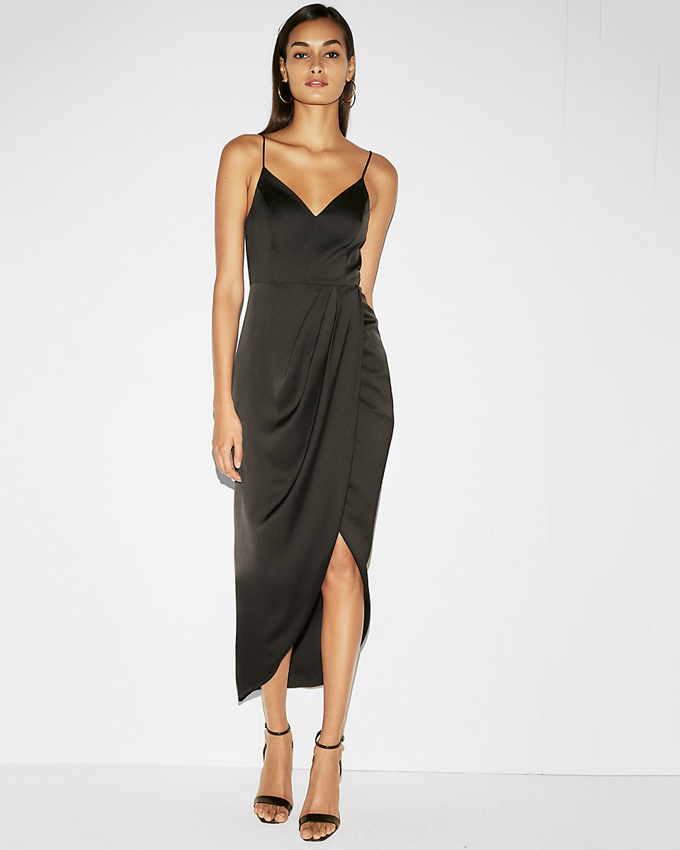 Satin Wrap Fit And Flare Maxi Dress Beautifulfeed