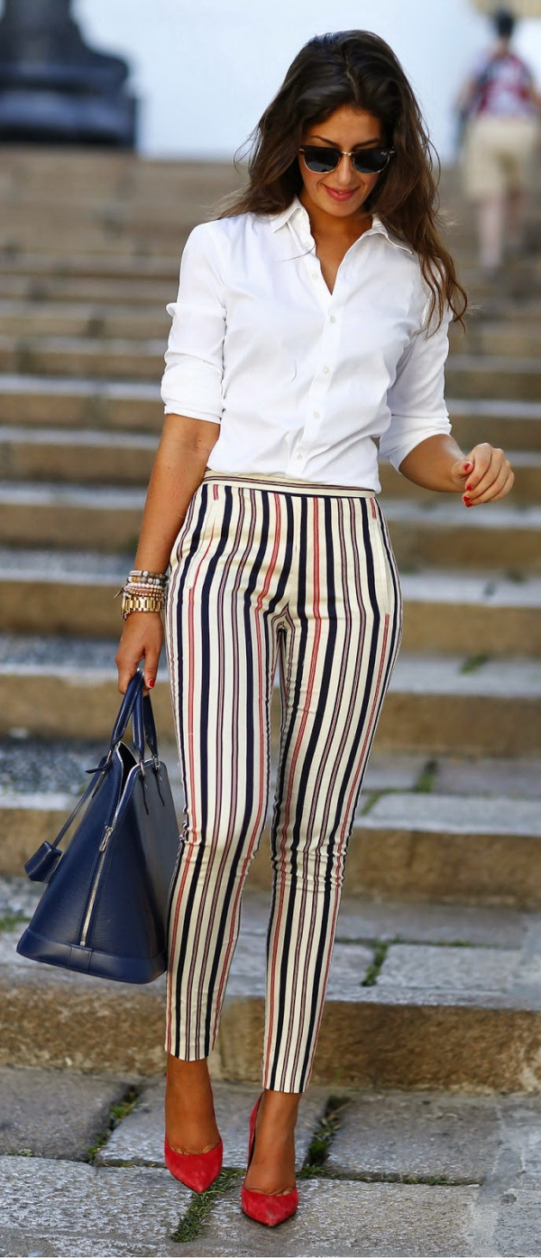 White Shirt With Striped Tights Beautifulfeed
