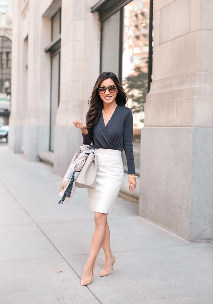 Wrap Cardigan Sweater Pencil Skirt beautifulfeed