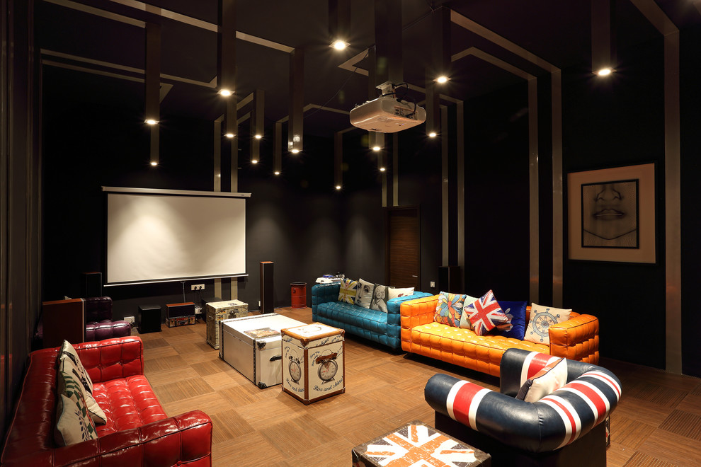 Eclectic Style Home Theater