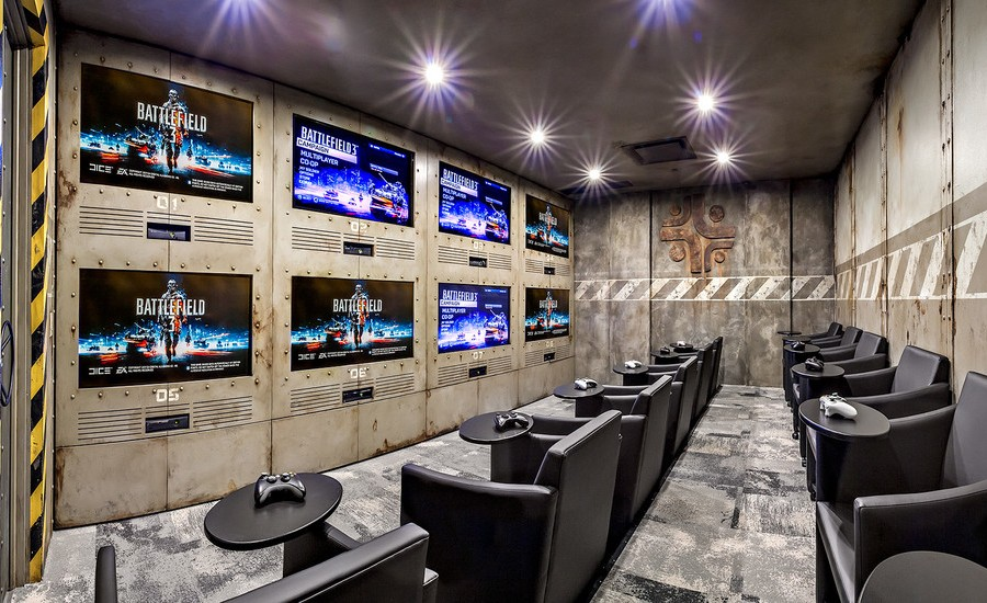 Industrial Style Home Theater & Gaming Room