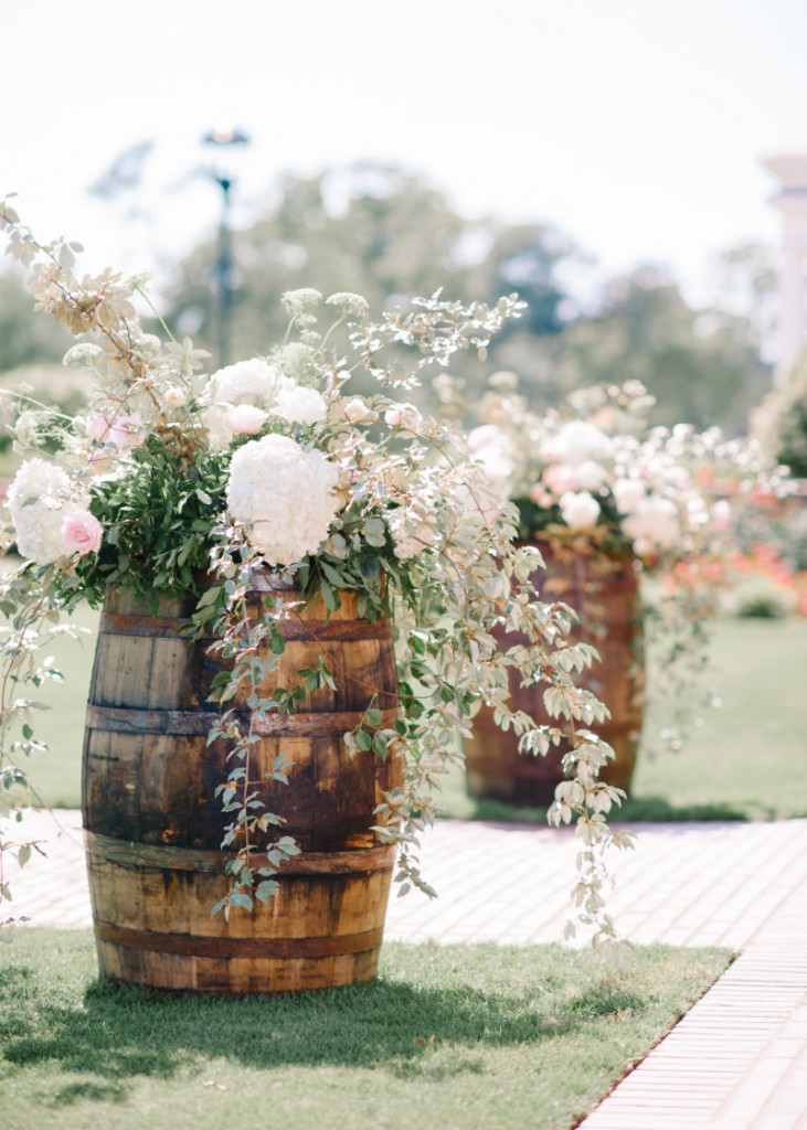 Wine Barrels Floral Decoration