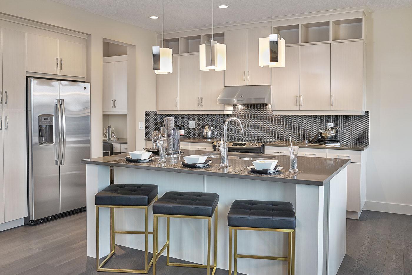 contemporary kitchen cabinet door handles Awesome Builder Homes by Avi Edmonton Designer Mirriah Cusack Finish Image
