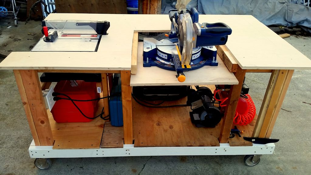 Miter Saw Stand with Cutting Tables attached